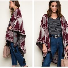 Tassel Poncho NEW Boho Diamond Printed Poncho in Black ❤️ soft and cozy to wrap yourself with.  100% Acrylic. Sweaters Shrugs & Ponchos