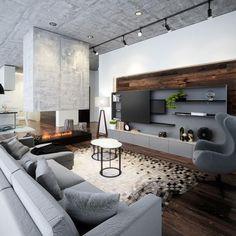 Modern kandalló - nappali ötlet