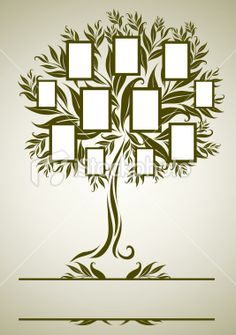 Vector family tree design with frames Royalty Free Stock Vector Art Illustration