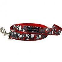 Red Skulls N Roses Dog Leash    www.queenofpaws.com   Follow us on Facebook & Twitter  @queenofpaws