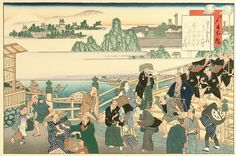 Kita and Yaji (in the left foreground in checked blue and white and dark green kimonos, respectively) at Nihonbashi, the starting point of the Tokaido.