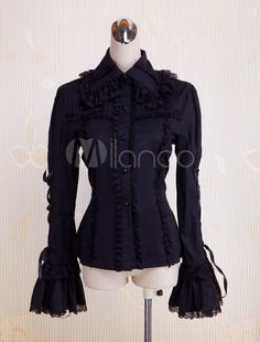 Black Long Sleeves Cotton Lolita Blouse $35.99 AT vintagedancer.com