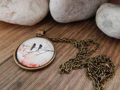 Ketten lang - Cabochon Kette bronze - Vögel auf Zweig - ein Designerstück von Trullas-Reich bei DaWanda
