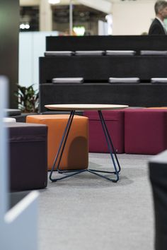 The Scoop table, the Bit stools and the Beatbox, an auditorium-like piece of furniture for working and learning environments. Education And Training, Learning Environments, Auditorium, Stools, Chair, Interior, Table, Furniture, Home Decor