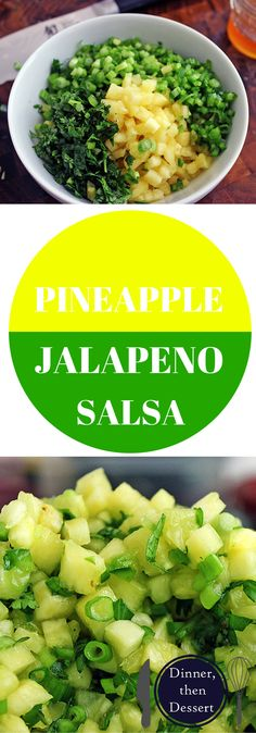 Salsa, perfect for grilled meats or chips! Made with pineapples, jalapenos, lime, honey and cilantro! Refreshing!