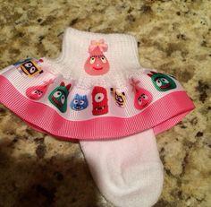 Hey, I found this really awesome Etsy listing at https://www.etsy.com/listing/224133651/yo-gabba-gabba-ribbon-girls-ruffle-socks
