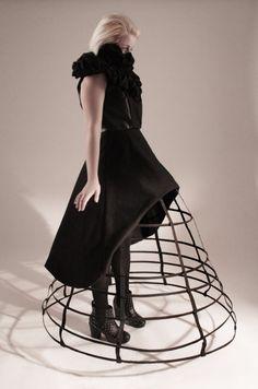 Cage Skirt under a short black dress - 3D fashion; sculptural silhouette; wearable art // Natasha Nugent
