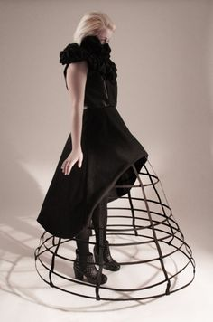Cage Skirt under a short black dress - 3D fashion; sculptural silhouette; wearable art // Natasha Nugent