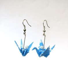 Origami Artist, Japanese Culture, Crane, Great Gifts, Origami Dragon, Drop Earrings, Pearls, Handmade, Etsy