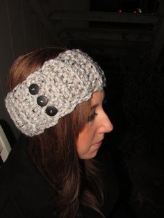 Crochet Earwarmer  Chunky Headband with Buttons by MessicasMakings, $16.00