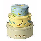 3 Kuchenbehälter mit Vogelmotiv