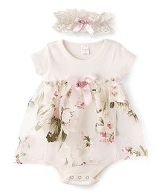 Take a look at this Ivory & Pink Floral Skirted Bodysuit & Lace Headband - Newborn & Infant today! Newborn Girl Dresses, Little Girl Dresses, Girls Dresses, Infant Dresses, Baby Dresses, Outfits Niños, Kids Outfits, Toddler Dress, Toddler Outfits