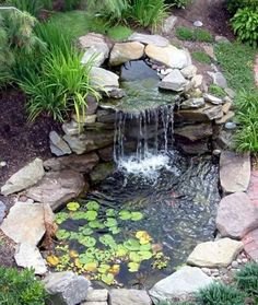 Awesome Backyard Ponds And Water Feature Landscaping Ideas - There are many ways to create your own unique backyard ponds or water gardens and we have some advice to help make it a fun and easy experience. Small Backyard Ponds, Backyard Water Feature, Small Ponds, Backyard Waterfalls, Pond Design, Garden Design, Fish Pond Gardens, Water Gardens, Water Pond