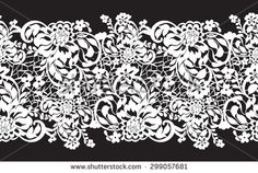 Delicate white lace with flowers on a black background - stock vector