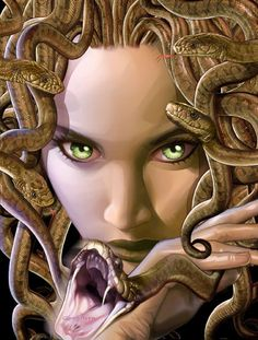 When Medusa transitioned into a monster, she grew snakes for hair and was known to turn a man to stone if she made eye contact with them. So she is often depicted with piercing eyes and snakes surrounding her face. Medusa Photo by photobucket. Greek And Roman Mythology, Greek Gods, Magical Creatures, Fantasy Creatures, Medusa And Athena, Desenhos Halloween, Age Of Mythology, Turn To Stone, Mythological Creatures