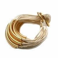 Wax Cord 18K gold plated on silver Boho Bracelet.   Hand made and designed in Amsterdam