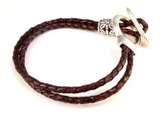Rustic Chunky Double Braided Coffee Leather Bracelet - Silver Clasp -Silver flower Bead - Boho Chic - Gift for Her