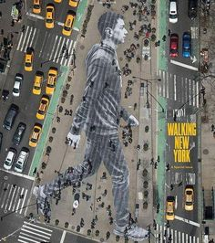 """JR's street art featuring a gigantic man walking in NYC graces the cover of """"The New York Times Magazine."""" April Walking New York 3d Street Art, Amazing Street Art, Street Art Graffiti, Street Artists, New York Street Art, Street Work, Street Mural, Urbane Kunst, Kunst Online"""