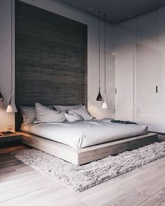 A bed, a good thick rug, bedside pendant lights. ➰