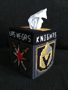 Handmade Plastic Canvas Tissue Box Cover - Las Vegas Golden Knights - Hockey