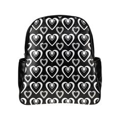 Black and White Heartbeat Multi-Pockets Backpack (Model 1636)