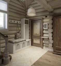 Interior design of a house in green: a corridor and an entrance hall to. Log Cabin Living, Log Cabin Homes, Home And Living, Modern Log Cabins, Log Home Interiors, Log Home Designs, Cabin In The Woods, Cozy House, House Design