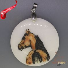 CREATIVE ENGRAVED HAND PAINTED HORSE PENDANT NATURAL WHITE STONE ZL7001762 #ZL #PENDANT