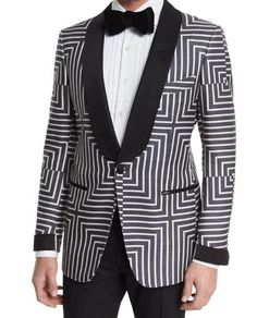 "Tom Ford ""Buckley"" base suit jacket in geometric-print. narrow shoulders for sartorial look. satin one-button front. Front besom pockets with satin trim; Tuxedo Suit, Black Tuxedo, Black White, Tuxedo Pants, Mens Fashion Suits, Mens Suits, Fashion Outfits, Tom Ford, Designer Tuxedo"
