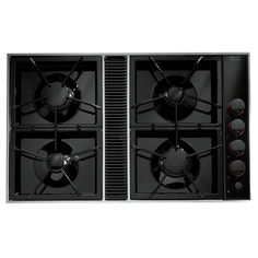 "Jenn-Air Expressions™ Collection Gas Downdraft Cooktop, 34"" CVGX2423B ... This Jenn-Air® luxury gas downdraft cooktop, which features sleek Expressions™ Collection styling, offers four sealed burners and a powerful built-in ventilation system that efficiently clears the air without a hood."