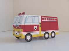 Printable Fire Truck Birthday Party Fire Truck Favor Box from the Sound the Alarm Party Collection by Paper Built