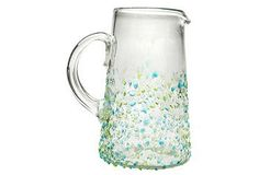 Crafted from recycle glass, this beautiful pitcher is perfect for serving summer cocktails or fresh lemonade. Beyond The Rack, Kitchen Items, Kitchen Stuff, Recycled Glass, Serveware, Tablescapes, Rio, Texture, Clutter