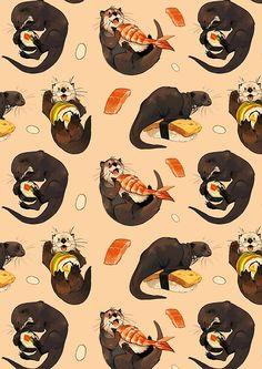 Cute Animal Drawings, Animal Sketches, Cartoon Drawings, Cute Drawings, Otters Cute, Cute Ferrets, Pet Ferret, Cute Girl Wallpaper, Animal Wallpaper