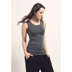 With ruched sections along the sides, and enough length to cover a pregnant belly, this sleeveless n Basic Tank Top, Tank Tops, Vitamins, Spring, Women, Fashion, Moda, Halter Tops, Fasion