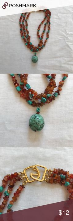 Kenneth Lane Rock Necklace Beautiful necklace. It is shorter with a teal colored rock hanging. Make an offer! Kenneth Jay Lane Jewelry Necklaces