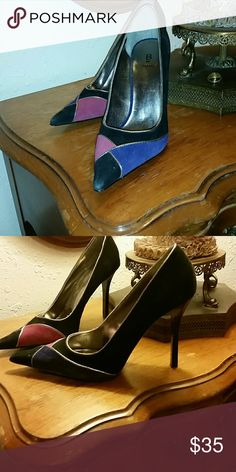 Bakers trip colored sz 6.5 heels Worn once. Gorgeous suede blk, purple and pink heels! Stunning!! Bakers Shoes Heels