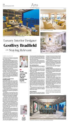 Luxury Interior Designer Geoffrey Bradfield on Staying Relevant|Epoch Times #InteriorDesign #newspaper #editorialdesign