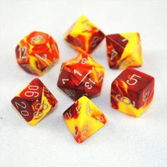 Set of 7 Chessex Gemini Red-Yellow w/silver RPG Dice