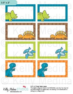 Dinosaurs - Printable Labels - Personal Use, Table, Gift Bag labels, Paper Crafts and Products. $4.00, via Etsy.