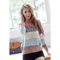 $11.70 Color Block Round Neck Long Sleeves Acrylic Refreshing Style Sweater For Women