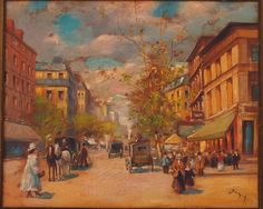 """Johan Barthold Jongkind: """"A street in Landerneau"""" (La rue Saint-Thomas à Landerneau), Oil on canvas, Dimensions: Height: 708 mm in). Width: 622 mm in), Current location: Gemeentemuseum Den Haag, The Hague Old Paintings, Paintings I Love, Beautiful Paintings, Monet, Google Art Project, Cityscape Art, Medieval Life, Painter Artist, Brest"""