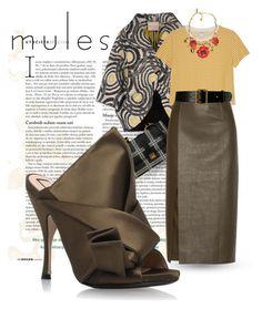 """Mule me, baby."" by clothesmonkey ❤ liked on Polyvore featuring Erika Cavallini Semi-Couture, Miu Miu, Monki, N°21, Jason Wu, Alaïa and Oscar de la Renta"