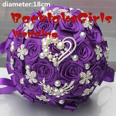 New Arrival Purple Color Holding Artificial Fowers Wedding Bouquet Holding Flowers Diamond Brooch Pearl Holding Bridal Bouquets