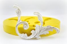 0336- Flourish Scrollwork Silicone Rubber Flexible Food Safe Mold Mould- Wedding Cake Decor, fondant, resin