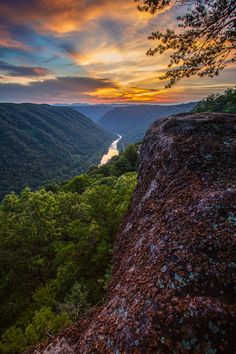 A summer sunset from Beauty Mountain in West Virginia's New River Gorge region.