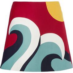 REDValentino Color-block cotton-blend crepe mini skirt ($175) ❤ liked on Polyvore featuring skirts, mini skirts, red, red mini skirt, panel skirt, short red skirt, multi color skirt and crepe skirt