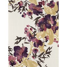 Meadow - Monsoon Wallpapers - A pretty floral trellis design in a water colour paint effect with gold detailing. Shown in purple, green and brown on a shimmery pearl background. Please request a sample for true colour match.