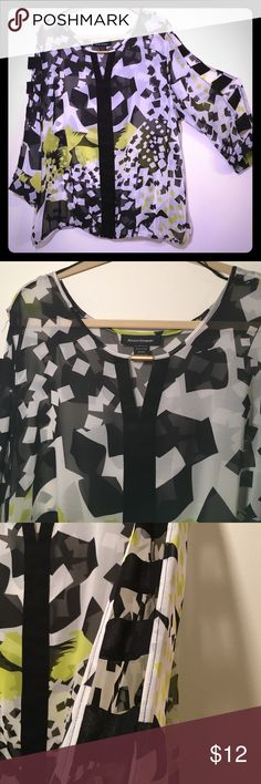 "Sheer blk/wht/lime. cutouts down sleeves, so cute. Blk/wht/lime Sheer blouse, cutouts down sleeves, slight ""v"" neck with cute blouse jewelry. NWOT, never worn. Ashley Stewart Tops Blouses"
