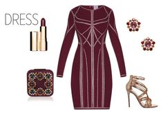 """Metallic dress"" by deannehobdayfairygodmother ❤ liked on Polyvore featuring Hervé Léger, Office, Bounkit, Manolo Blahnik and Clarins"