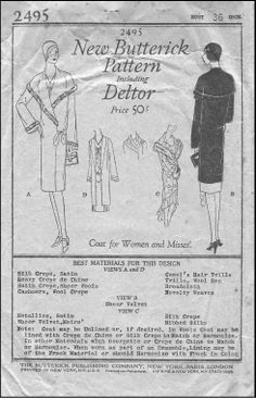 Butterick #2495 - 1920s Ladies Coat with Cape with Length Options - Sewing Pattern
