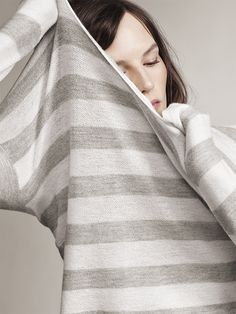 When the office AC is blaring, wrap yourself up in something light, warm and luxurious: Ann Taylor Cashmere. #anntaylor #cashmere #stripes #sweater #summersweater